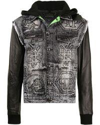 Philipp Plein Джинсовая Куртка С Капюшоном И Вышивкой - Черный