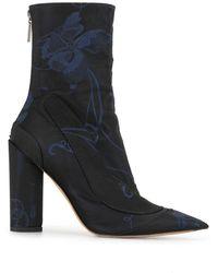 Dior Enkellaarzen Met Bloemenprint - Zwart