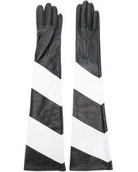 Manokhi Длинны Перчатки С Контрастными Панелями - Черный