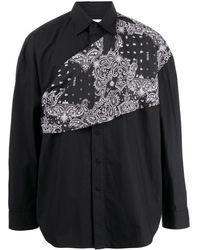 Yoshio Kubo ペイズリースカーフ シャツ - ブラック