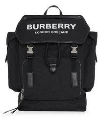 Burberry Mochila mediana con logo - Negro