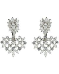 YEPREM 18kt White Gold Diamond Drop Earrings - Metallic