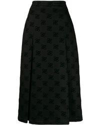 Fendi カーリグラフィ ミディスカート - ブラック