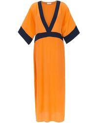 Brigitte Bardot Silk Beach Dress - オレンジ