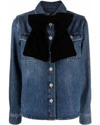 Maje Chemise en jean à détail de nœud - Bleu