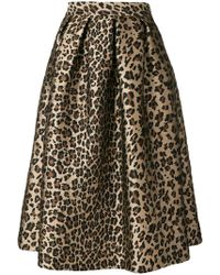 P.A.R.O.S.H. - Leopard Print Flared Skirt - Lyst