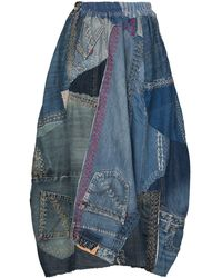 By Walid Jupe Nadia en jean à design patchwork - Bleu