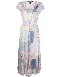 Tommy Hilfiger Silk Floral Patchwork Midi Dress - Синий