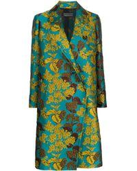 Gianluca Capannolo Floral-jacquard Coat - Blue