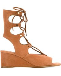 Chloé - Suede Wedge Sandals - Lyst