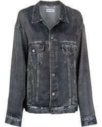 Balenciaga Oversized Denim Print Jacket - Black