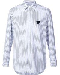 COMME DES GARÇONS PLAY Heart logo patch striped shirt - Blau