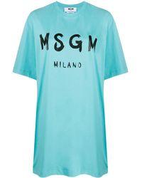 MSGM - T-Shirtkleid mit Print - Lyst