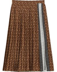 Burberry モノグラムストライプ プリーツスカート - ブラウン