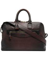 Santoni Leather Laptop Briefcase - Brown