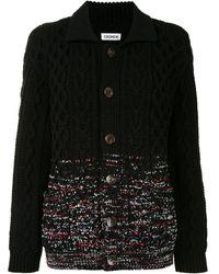 Coohem Aran-gradation Spread Collar Cardigan - Black