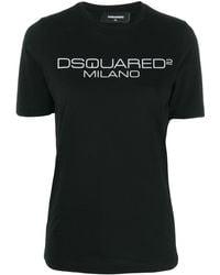 DSquared² Camiseta con logo estampado - Negro