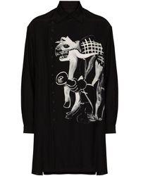 Yohji Yamamoto Asakura ロングライン シャツ - ブラック
