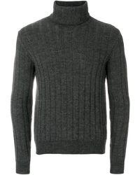AMI Turtleneck Flat Ribbed Sweater - Gray