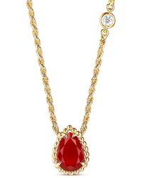 Boucheron 18kt Yellow Gold Diamond Serpent Bohème Pendant Necklace - Metallic