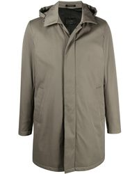 Dell'Oglio Hooded Single Breasted Coat - Green