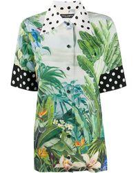 Dolce & Gabbana Рубашка Оверсайз С Принтом - Зеленый