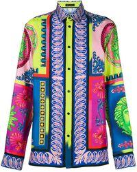 Versace Seiden-T-Shirt mit Print - Mehrfarbig