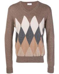 Ballantyne - Argyle Knitted Vneck Sweater - Lyst