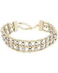 Rosantica Allodola Faux Gem Embellished Necklace - Metallic