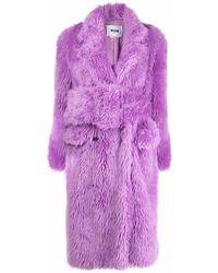 MSGM Belted Faux Fur Coat - Purple