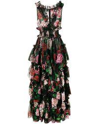 Dolce & Gabbana Floral Print Evening Dress - Black