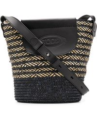 Tod's Woven Raffia Bucket Bag - Black