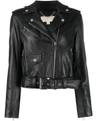 Michael Kors Cropped Biker Jacket - Black