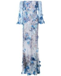 Marchesa notte - Floral Embroidered Gown - Lyst