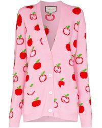 Gucci Cardigan en maille intarsia - Rose