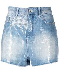 Emporio Armani Short en jean à ornements de sequins brodés - Bleu
