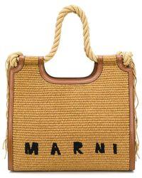 Marni Fringed Raffia Tote Bag - Brown