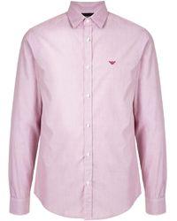 Emporio Armani Рубашка С Вышитым Логотипом - Розовый