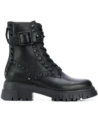 Ash Lewis Stud Military Boots - Black