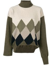 Erika Cavallini Semi Couture - Colour-block Argyle Sweater - Lyst