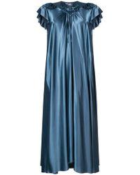 Balenciaga - Vestido de seda con ribete de volantes - Lyst