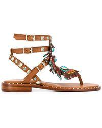 63a372c1edb Lyst - Rene Caovilla Beaded T-strap Flat Sandals in Black
