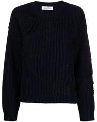 Valentino Джемпер С Цветочной Вышивкой - Синий