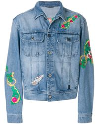 Versace - Floral Embroidery Denim Jacket - Lyst