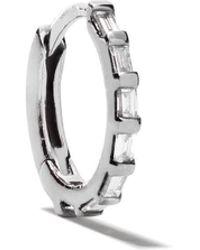 Stone Paris 18kt Black Gold Tiny Hoop Baguette Diamond Earring - Metallic