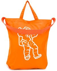 CALVIN KLEIN JEANS EST. 1978 Logo Print Shopper Tote - Orange