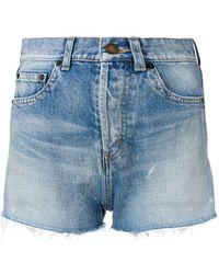 Saint Laurent - Distressed Denim Shorts - Lyst