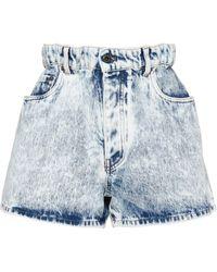 Miu Miu Acidwash-effect Denim Shorts - Blue