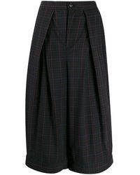 Zucca Pantalones capri a cuadros - Negro
