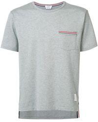 Thom Browne Cotton Jersey T-shirt W/ Striped Details - Grey